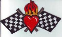 """Patch FP0179 """"Brennendes Herz mit Zielflaggen"""""""
